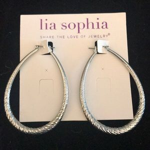 Lia Sophia silver oblong hoop earrings